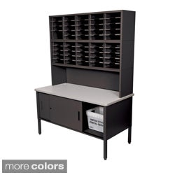Marvel Mail Sorting Station, 50 Adjustable Cubbies with Riser and Cabinet