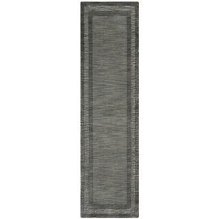 Safavieh Handmade Impressions Modern Charcoal/ Blue New Zealand Wool Rug (2'3 x 8')