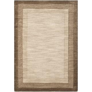 Safavieh Handmade Impressions Modern Beige/ Brown New Zealand Wool Rug (5' x 8')