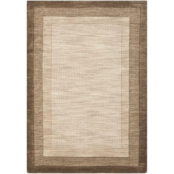 Safavieh Handmade Impressions Modern Beige/ Brown New Zealand Wool Rug - 7'6 x 9'6