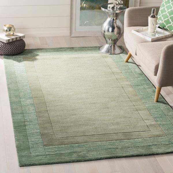 Safavieh Handmade Impressions Modern Beige Green New Zealand Wool Rug 5 X27