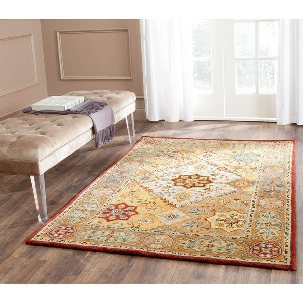 Safavieh Handmade Persian Legend Diamonds Multi/ Rust N.Z. Wool Rug (4' x 6')