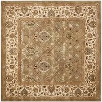 Safavieh Handmade Mahal Green/ Beige New Zealand Wool Rug - 6' Square