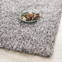 Safavieh Handmade New Orleans Shag Grey Textured Polyester Square Rug - 5' Square
