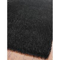 Safavieh Handmade New Orleans Shag Black Textured Polyester Area Rug - 3' x 5'