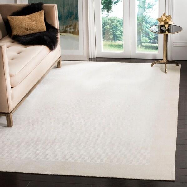 Safavieh Handmade Mirage Modern Border Pearl White Viscose Rug - 9' x 12'
