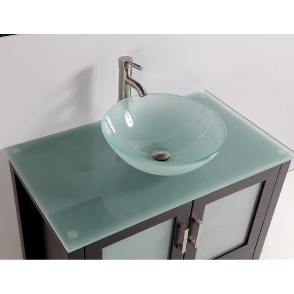 Tempered Glass Top And Sink Bowl 36 Inch Single Sink Bathroom Vanity With Mirror And Fauc Overstock 7646332
