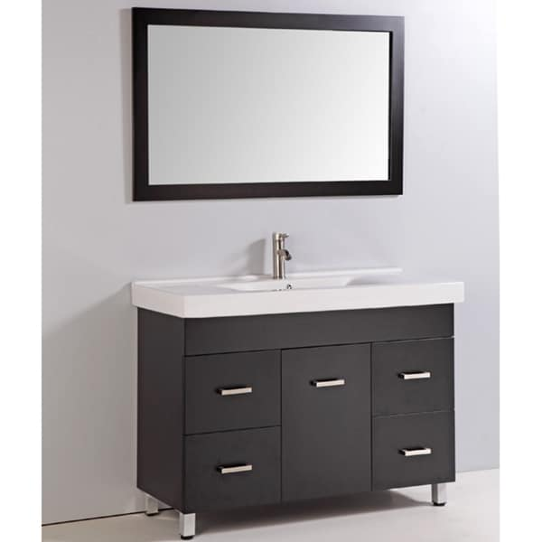 Shop ceramic top 48 inch single sink bathroom vanity with for 48 inch mirrored bathroom vanity