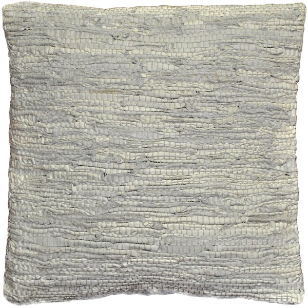 Off White Leather Matador 18-inch Decorative Pillow