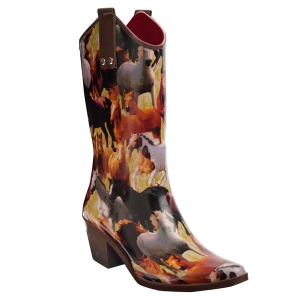 Henry Ferrera Women's Horse Mural Printed Cowboy Style Rain Boots