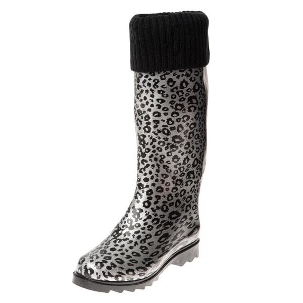 Henry Ferrera Women's Silver Leopard Printed Knit Cuff Rain Boots