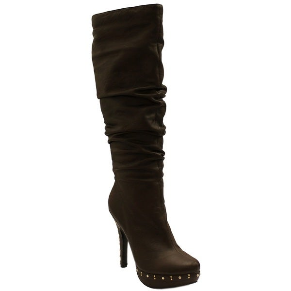 Fahrenheit Women's 'Opera' Brown Studded Boots