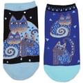 Laurel Burch Socks 2/Pair-Indigo Cats