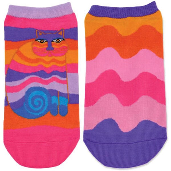 Laurel Burch Socks 2/Pair-Rainbow Cat