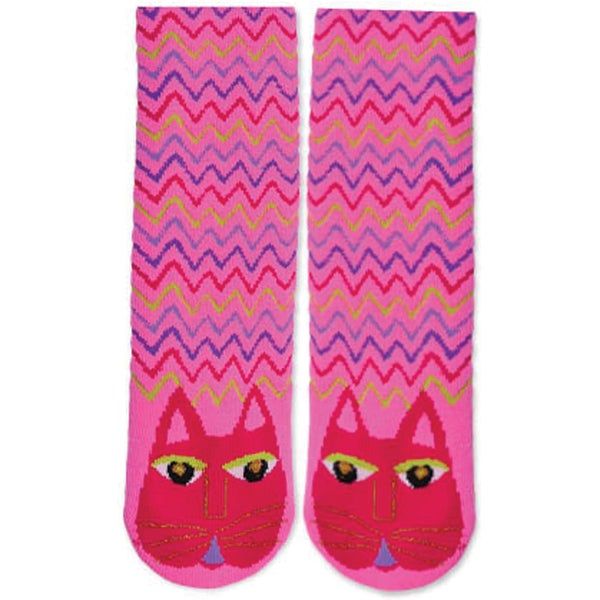 Laurel Burch Slipper Socks-Fuchsia Cat