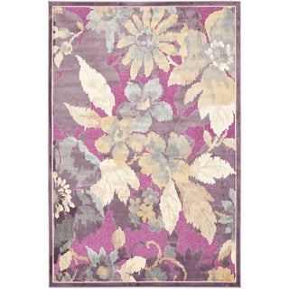 Transitional Pink Purple Viscose Chenille Rug 2 X 3