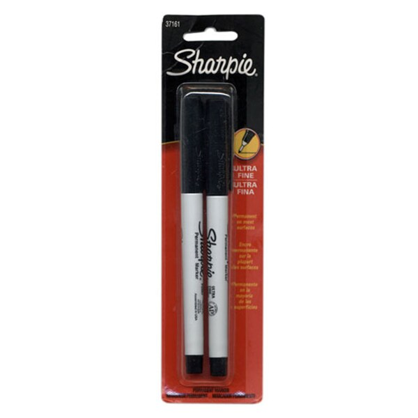2 Black Ultra Fine Tip Sharpie Permanent Markers (2 Packs)