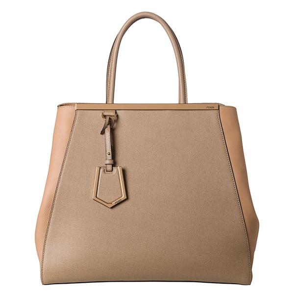Fendi Women's '2Jours' Large Saffiano and Vtiello Leather Shopper Bag