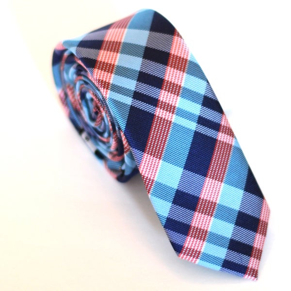 Skinny Tie Madness Men's Blue and Red Plaid Slim Tie