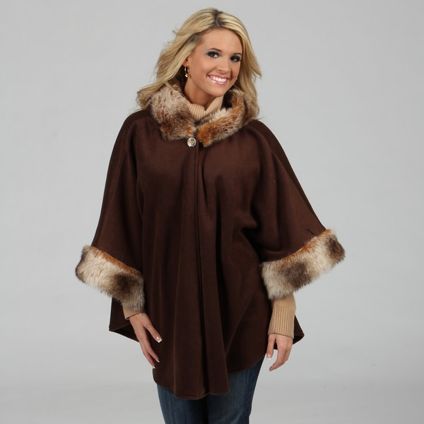 Black Mountain Women's Brown Faux Fur Accented Poncho