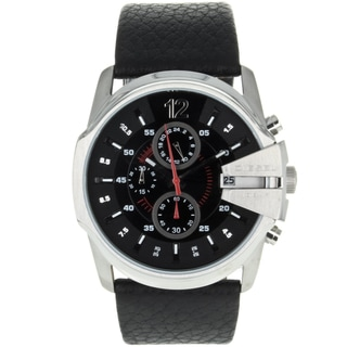 Diesel Men's DZ4182 'MasterChief' Black Chronograph Leather Watch