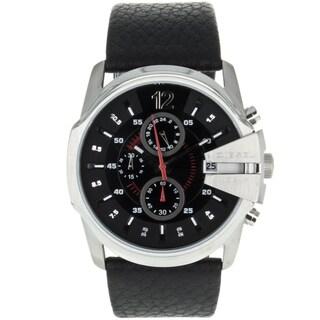 Diesel Men's DZ4182 'MasterChief' Black Chronograph Leather Watch