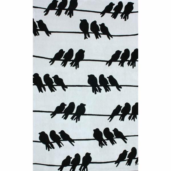 nuLOOM Handmade Kids 'Birds on a Wire' Ivory Rug (5' x 8')