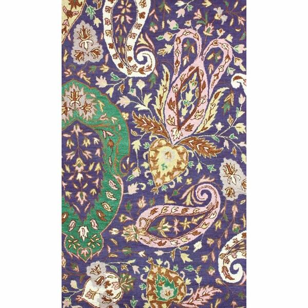 nuLOOM Handmade Paisleys Multi Wool Rug (7'6 x 9'6)