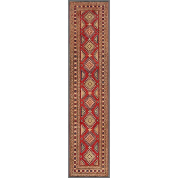 Afghan Hand-knotted Kazak Red/ Ivory Wool Rug (2'9 x 12'8)