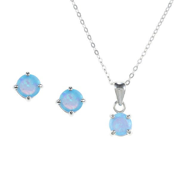 La Preciosa Sterling Silver Created Blue Opal Jewelry Set