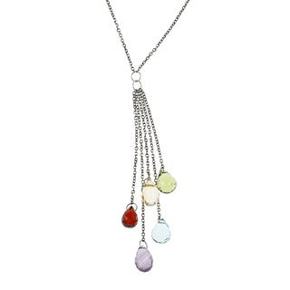 La Preciosa Sterling Silver Multi-gemstone Briolette Necklace