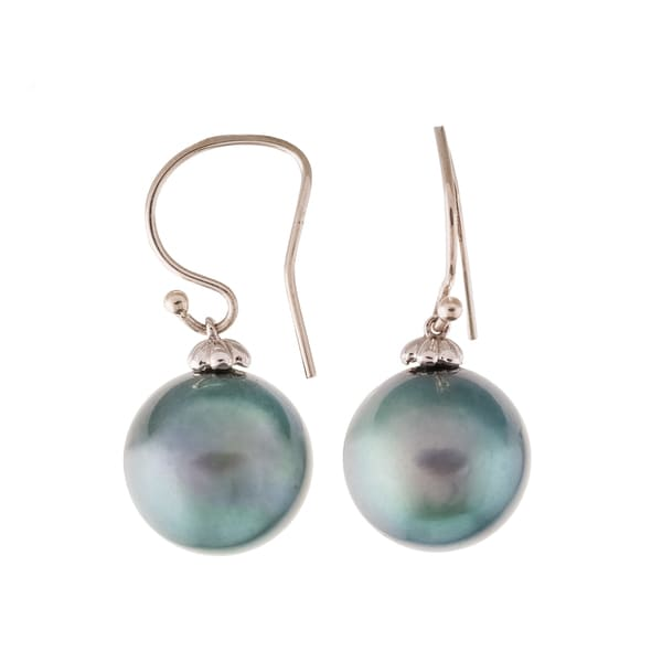 Pearlyta 14k White Gold Black Tahitian Pearl Hook Earrings with Gift Box