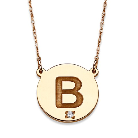 10k Yellow Gold Diamond Accent Engraved Initial Necklace