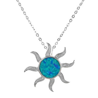 La Preciosa Sterling Silver Created Blue Opal Sun Necklace