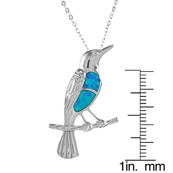La Preciosa Sterling Silver Created Blue Opal Bird Necklace