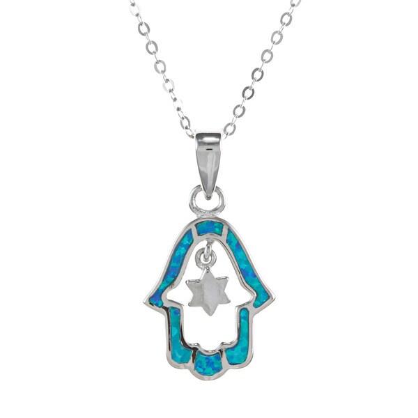 La Preciosa Silver Created Blue Opal Hamsa and Star of David Necklace