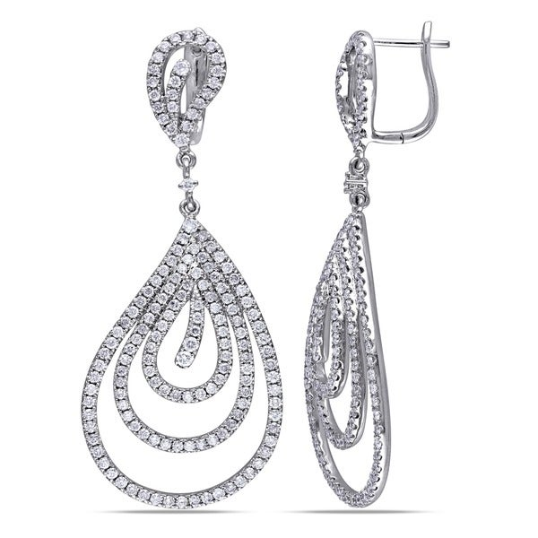 Miadora Signature Collection 14k White Gold 3ct TDW Diamond Teardrop Earrings