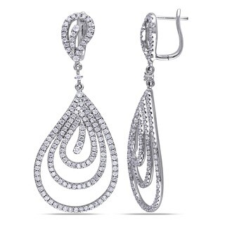 Miadora Signature Collection 14k White Gold 3ct TDW Diamond Teardrop Earrings (G-H, SI1-SI2)