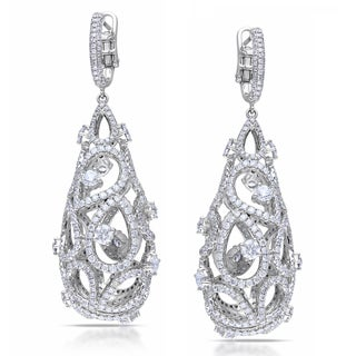 Miadora Signature Collection 14k White Gold 10 1/4ct TDW Diamond Vintage Drop Earrings (G-H, SI1-SI2)