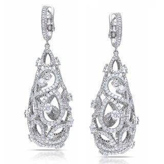 Miadora Signature Collection 14k White Gold 10 1/4ct TDW Diamond Vintage Drop Earrings