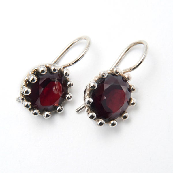 Sterling Silver Garnet Earrings (India)