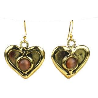 Handmade Peach Tiger Eye Heart Earrings (South Africa)