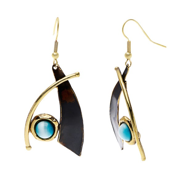Handmade Blade and Aqua Tiger Eye Brass Earrings (South Africa)