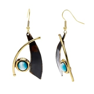 Handcrafted Blade and Aqua Tiger Eye Brass Earrings (South Africa)