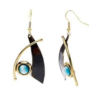 Handmade Blade and Aqua Tiger Eye Brass Earrings (South Africa)