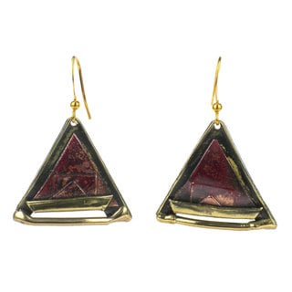 Handcrafted Copper and Brass Triangle Earrings (South Africa)