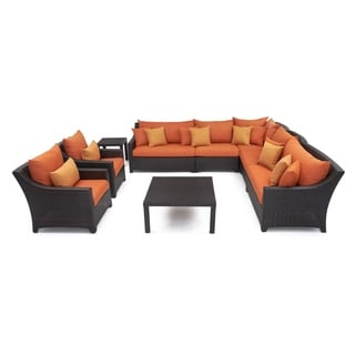 RST Outdoor 'Tikka' 9-Piece Corner Sectional Sofa and Club Chairs Patio Furniture Set