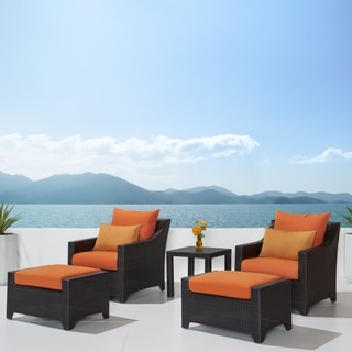 RST Outdoor 'Tikka' 5-Piece Patio Club Chairs and Ottomans Set