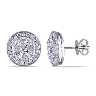 Miadora 14k White Gold 1 3/4ct TDW Diamond Halo Earrings