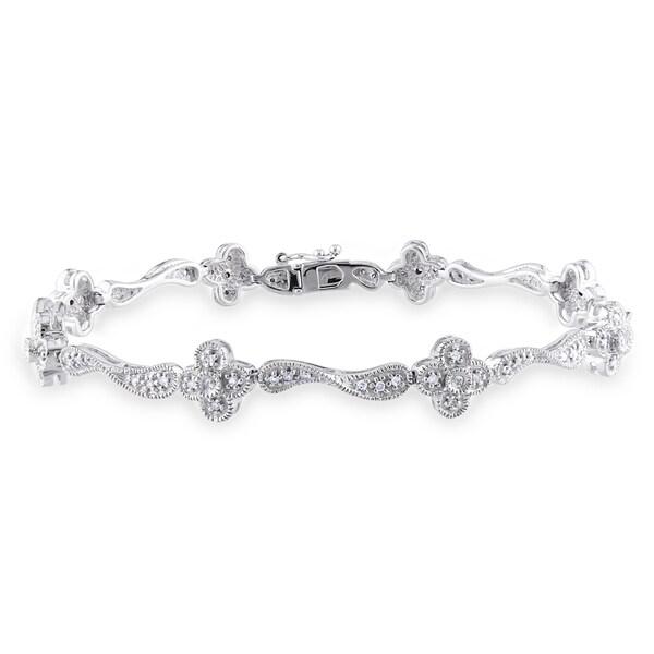 Miadora Signature Collection 14k White Gold 1/3ct TDW Diamond Bracelet